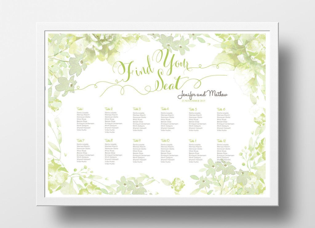 Wedding seating chart poster diy editable powerpoint template floral green also rh pinterest