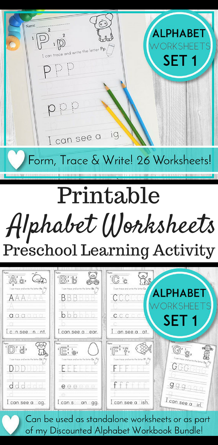 Printable Alphabet Tracing Worksheets | Writing Practice | ABC ...