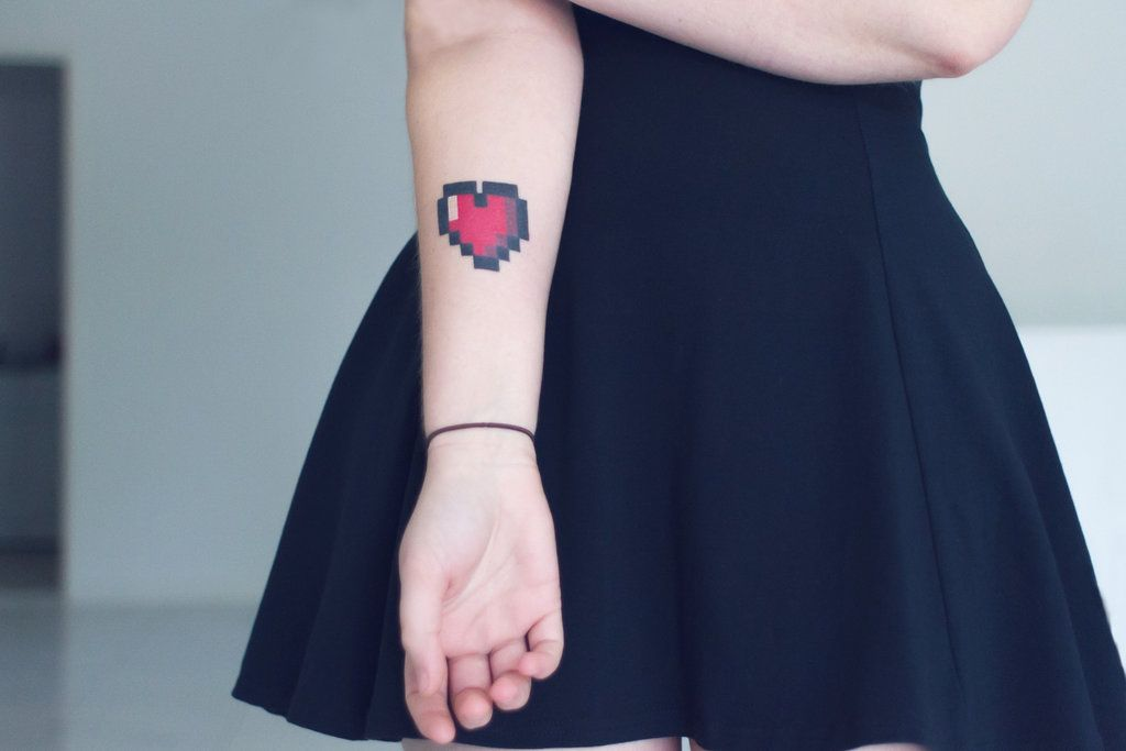 8 Bit Heart Tattoo We Want To Get This As A Family