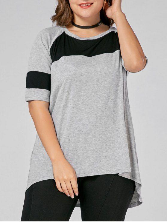 1d93daa5af4d2e Color Block Plus Size High Low Long T-shirt - GRAY
