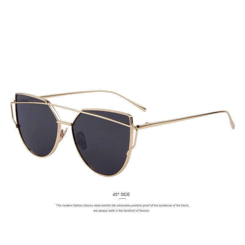 Black and Gold Aviator Cat Eye Sunglasses