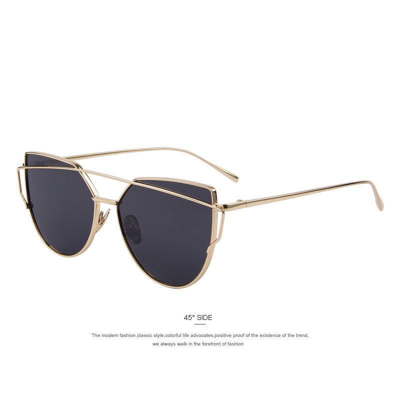 Black and Gold Aviator Cat Eye Sunglasses