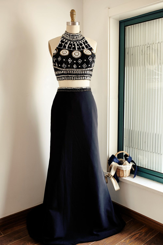 Black satin twopiece halter beaded bodice long prom dress black