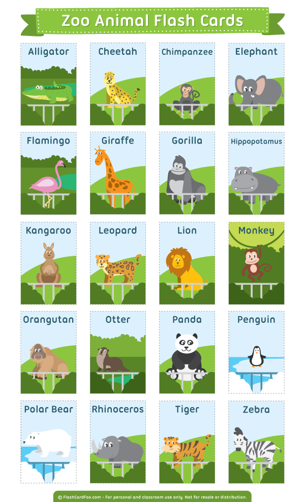 Free printable zoo animal flash cards. Download them in