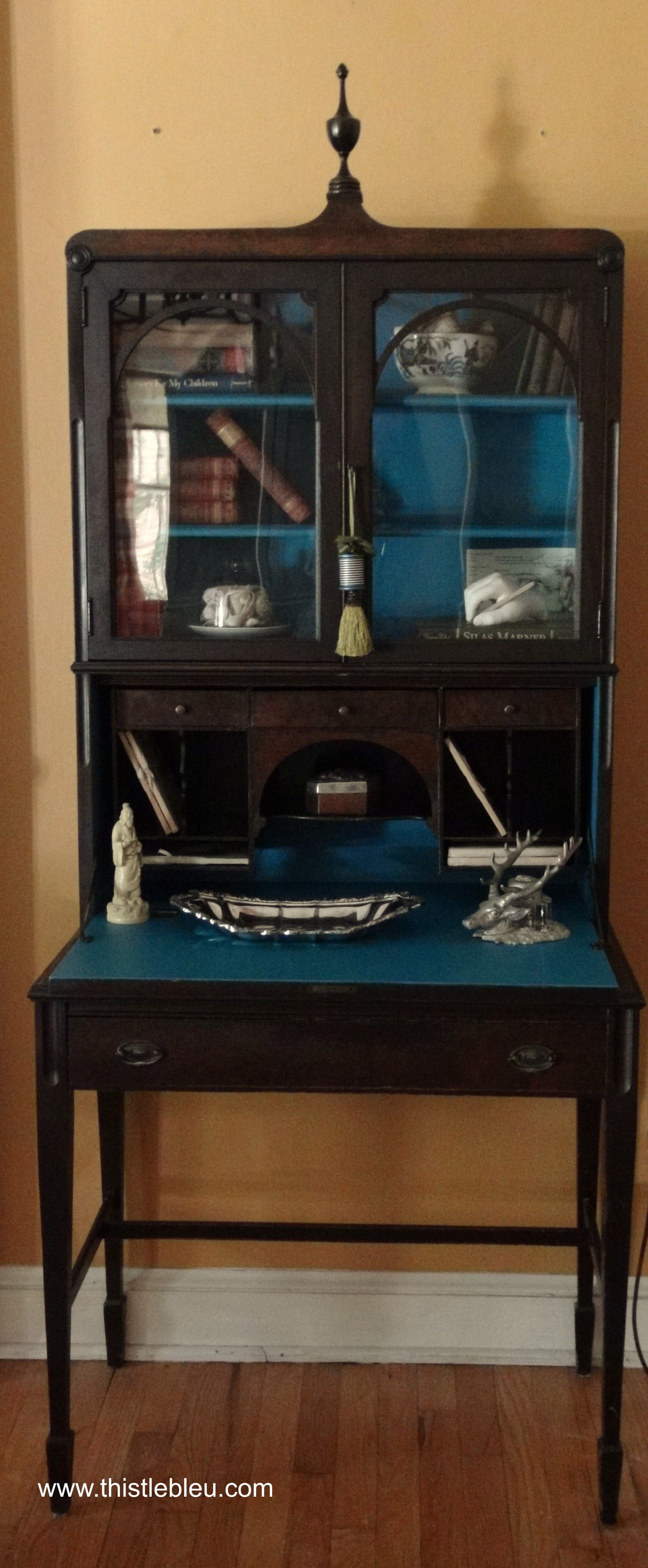 Painted Secretary S Desk Blue Interior Gray Or Black