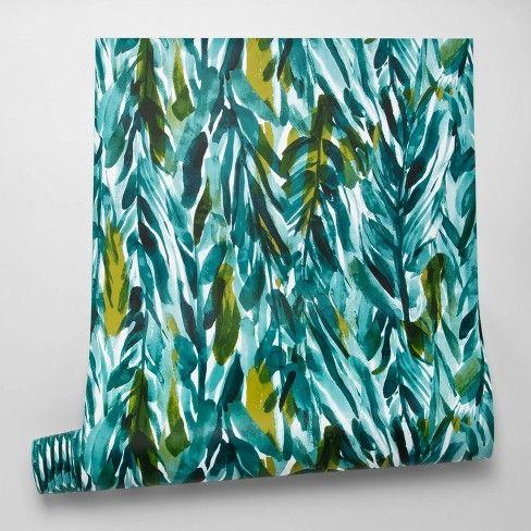 Leaves Peel Stick Wallpaper Green Opalhouse In 2021 Peel And Stick Wallpaper Leaf Wallpaper Stick On Wallpaper