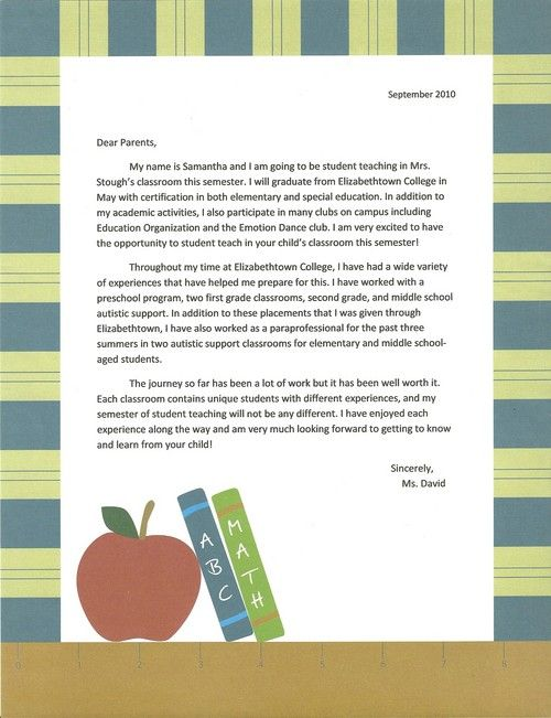 Sample intro letter to parents student teaching for Parent letter from teacher template