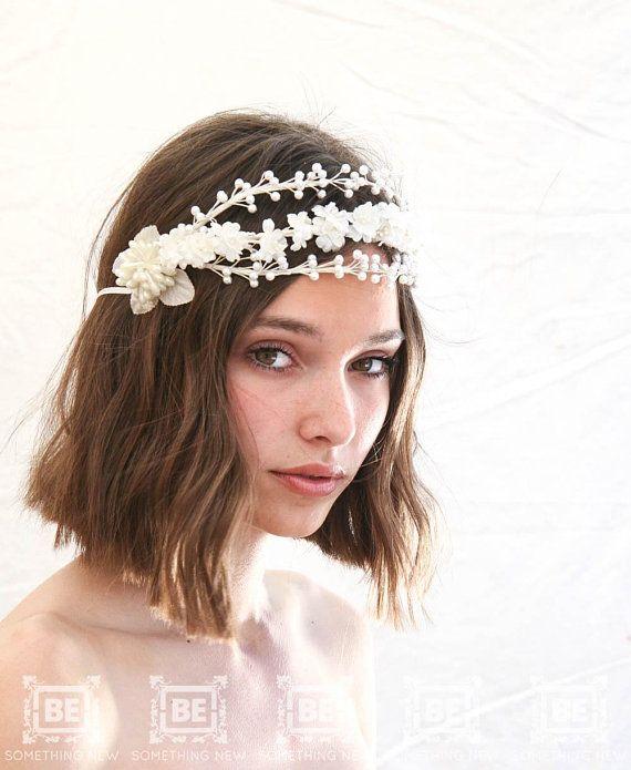 Vintage Wax and silk Flower Headpiece c1759ea0a9c