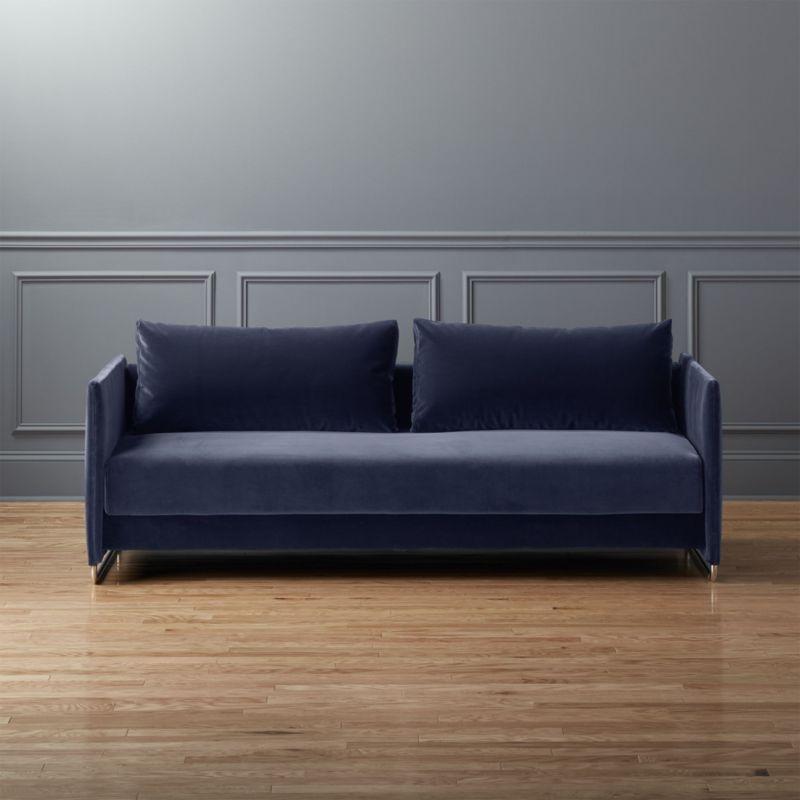 Shop Tandom Navy Blue Velvet Sofa Make Room For Two With Our Tandom Blue Velvet Sofa This Most Comfortable Sofa Bed Comfortable Sofa Bed Best Sleeper Sofa