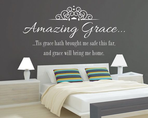 Vinyl Wall Decal Amazing Grace Hymn Lyrics Vinyl Letters Inspirational Quote Wall Art Christian Sticker Living Room Decal Bedroom Children's