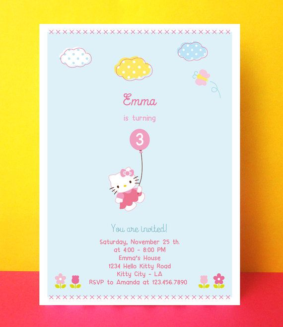 INSTANT DOWNLOAD - Hello Kitty Invitation Card - Editable Pdf - Diy Printable - Digital File - Hello Kitty Birthday Party