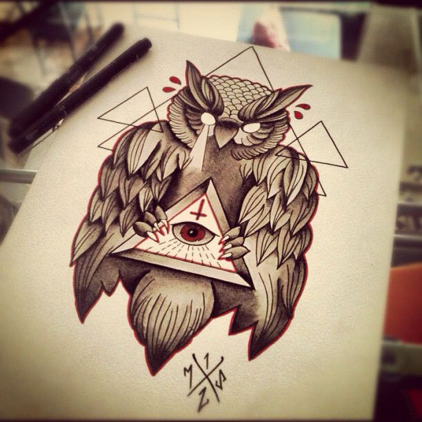 Illuminati All Seeing Eye And Moloch Ie The Owl Tattoos