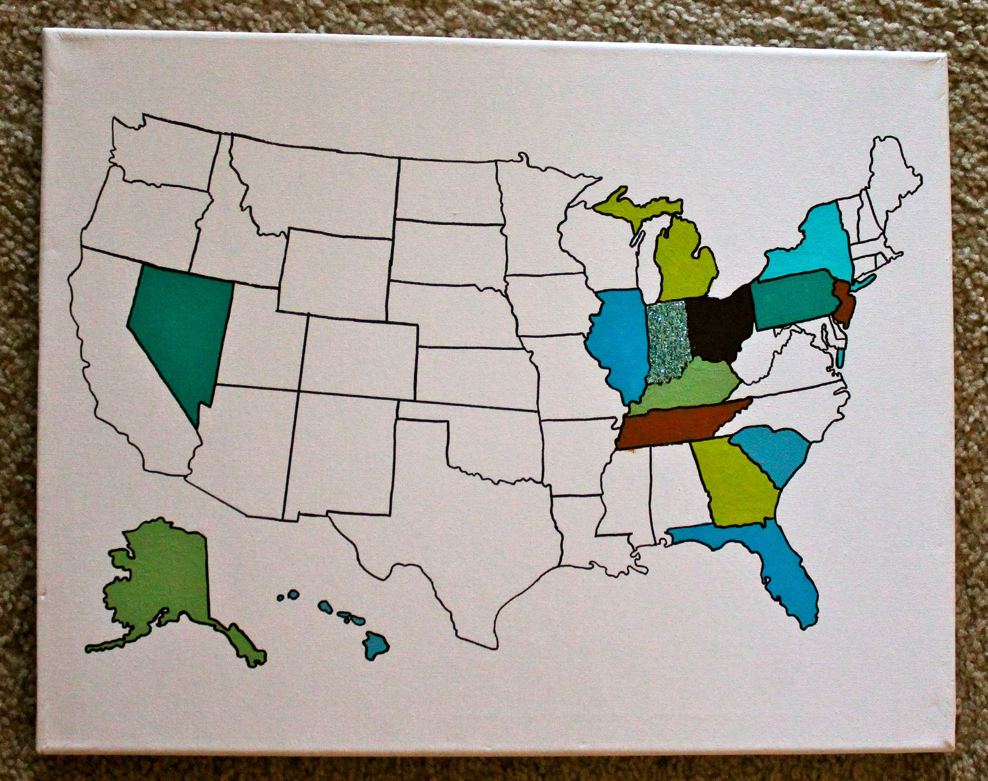 trace a map of the united states with a sharpie then paint the