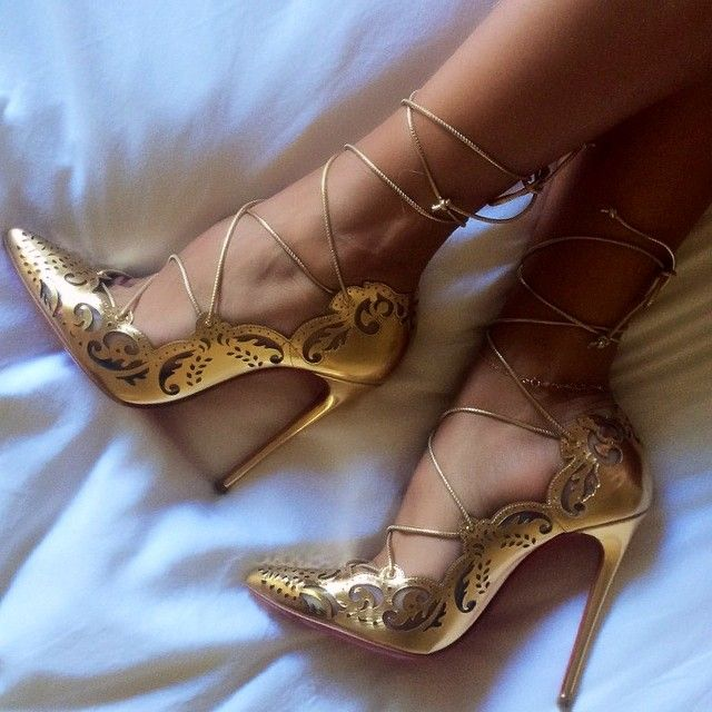 christian louboutin gold lace