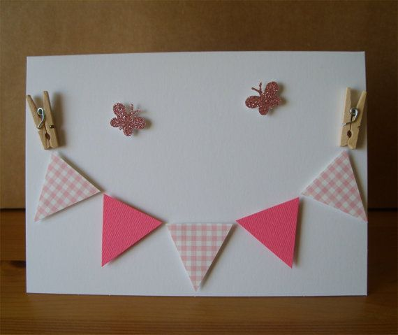 Baby Bunting Card  Pink by AuntyJoanCrafts on Etsy, £2.50