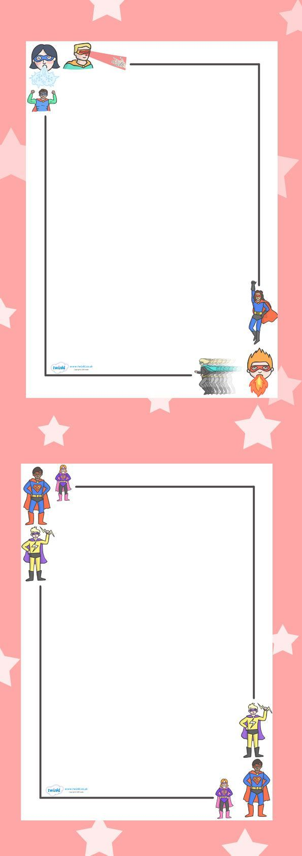 free printables. Superhero Page Borders | Super HERO Theme ...