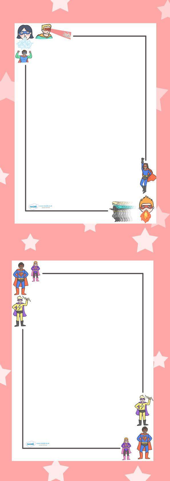 Preschool border page border - Superhero Page Borders