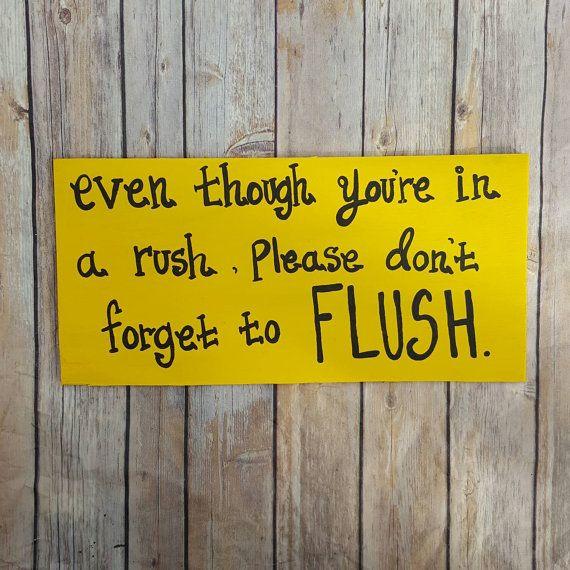 Bathroom Signs, Bathroom Rules Sign, Flush the Toilet, Bathroom Wall ...