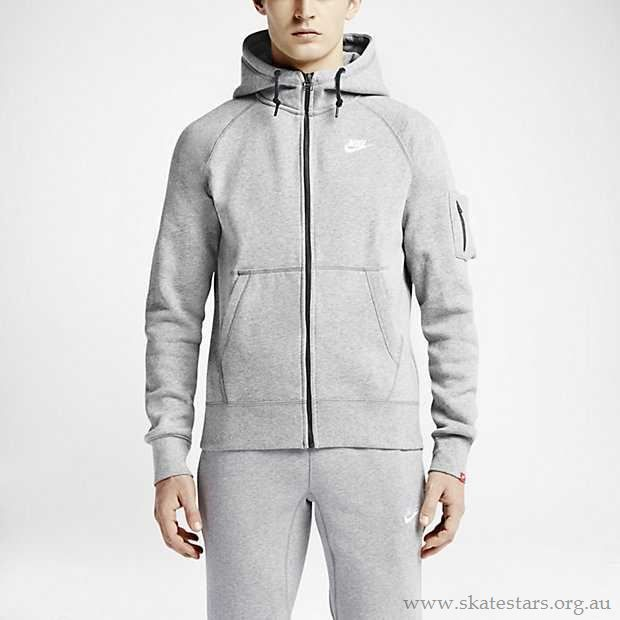Nike Tech Fleece AW77 Full Zip Hoodie - Grey Heather