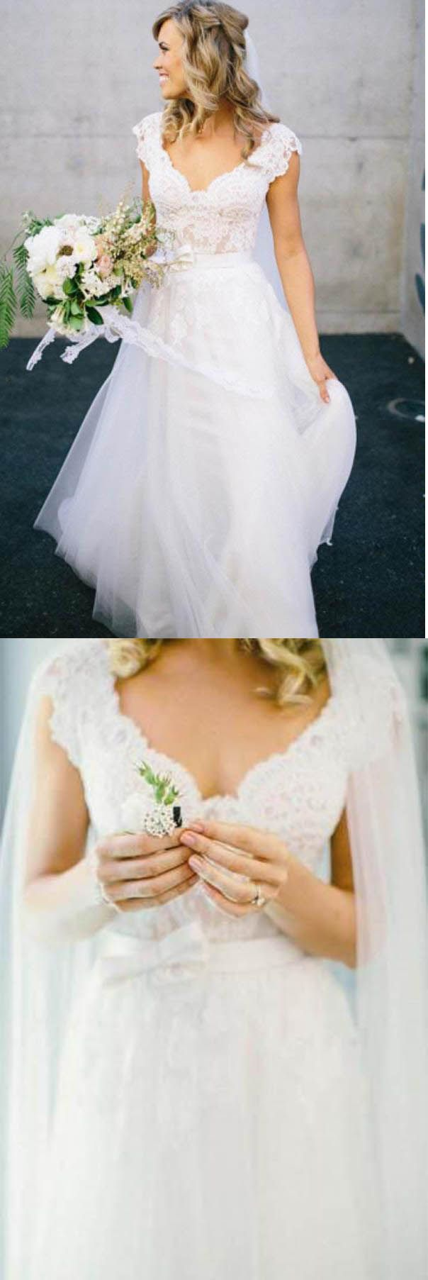 White vneck lace top tulle cap sleeve aline wedding dress ok