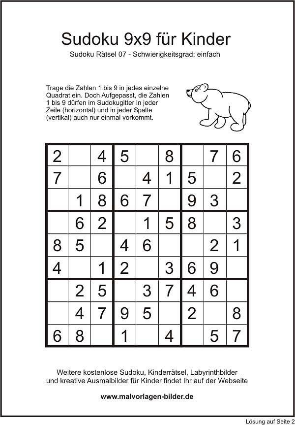 kindersudoku 9x9 einfache version mit lösung  sudoku
