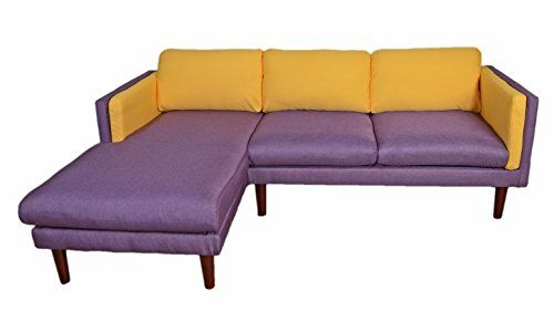 Beverly Furniture Amber Left Chaise L Shape Sofa Yellow Blue