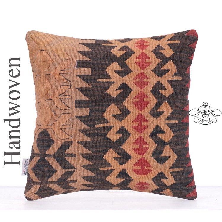 "Old Tribal Kilim Cushion 16x16"" Hand Woven Decorative Sofa Couch"