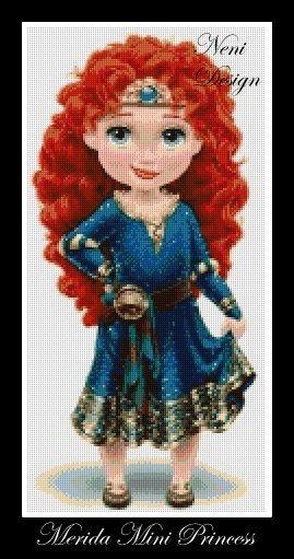 Merida princess disney Merida Merida mini princess disney pattern disney princess disney cross stitch PDF pattern Instant Download!