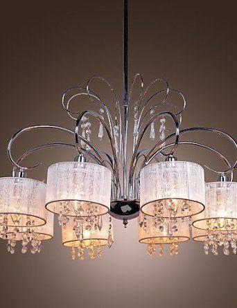 Lampara Chandelier Contemporanea De Cristal Cromada Orsay 110v White Amazon Es Iluminacion Living Room Lighting Pendent Lighting Modern Chandelier