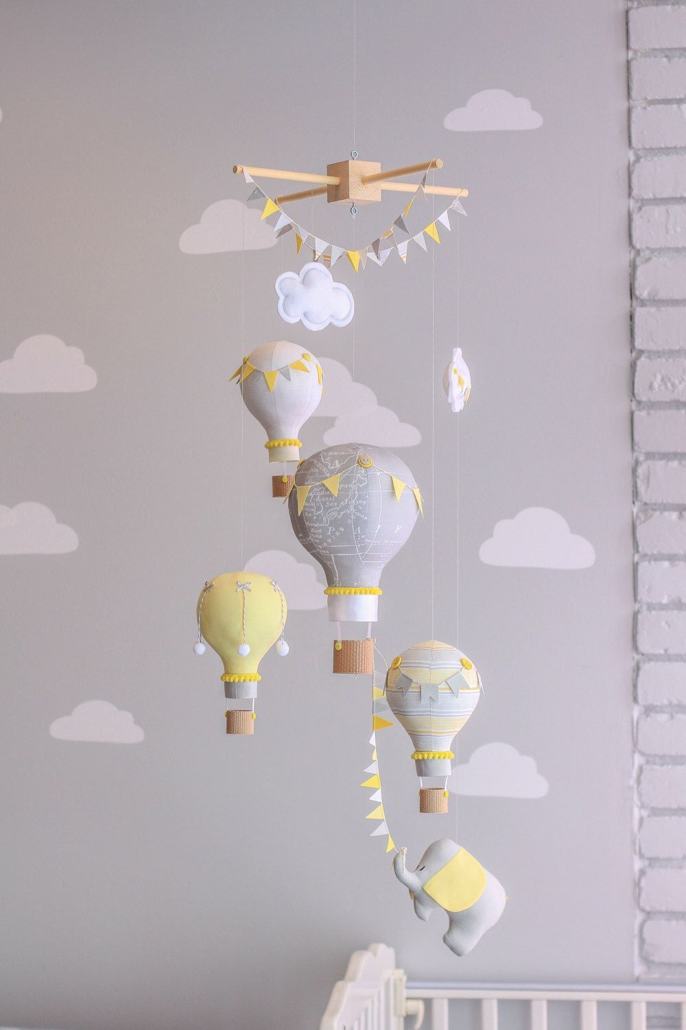 Yellow And Grey Gender Neutral Nursery Mobile Hot Air Balloon Baby Elephant Travel