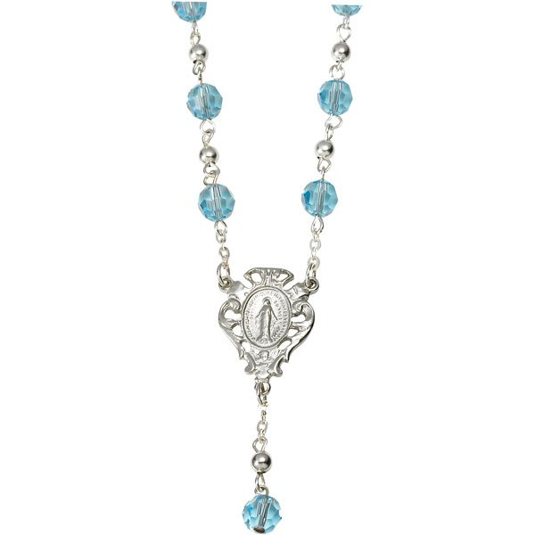 """Miraculous Swarovski Crystal Necklace-1"""" Miraculous medal centerpiece with claw clasp closure. Gift boxed. Available at Leaflet Missal"""