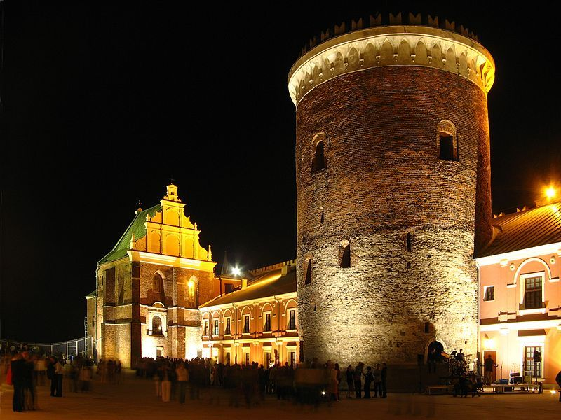 Courtyard of the Lublin Castle - Holy Trinity Chapel and the 13th-century tower.