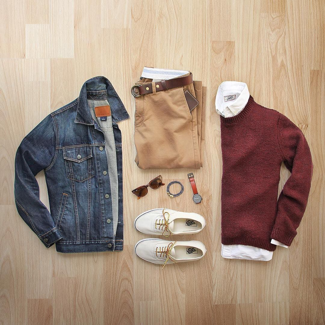 Color of the day: burgundy #sweaterweather Jacket: @gap Chinos: @jcrew 484 Sweater: @topman @nordstrommen Shirt: @grayers Shoes: @vans for @jcrew Belt: @toddsnyderny Wallet: @starkmade Watch/Bracelet: @miansai Glasses: @rayban by thepacman82 #outfitgrid