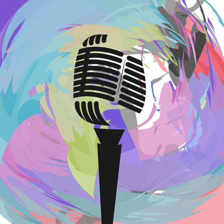 vector image Music Clip Art Microphone Abstract Vector Background