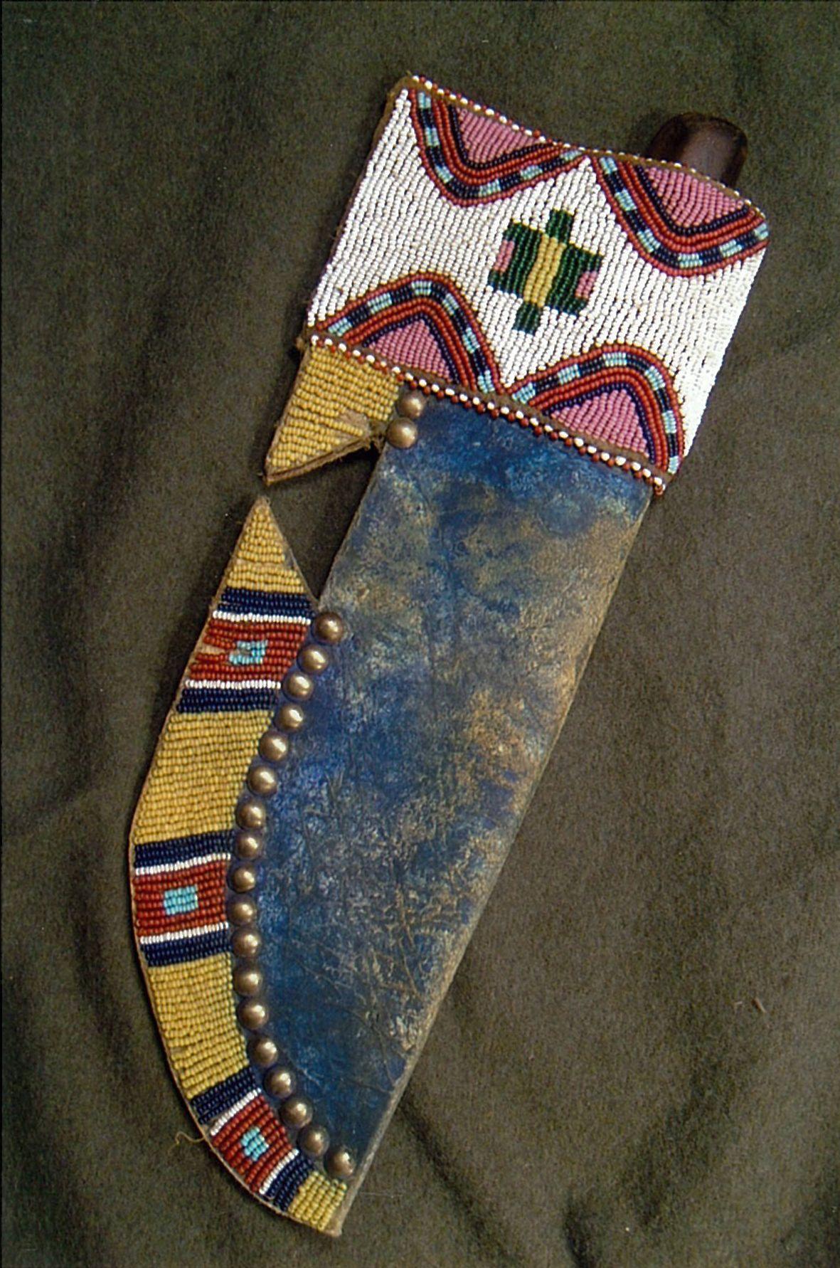 Northern Plains Style Sheath Buffalo Rawhide Old Tacks
