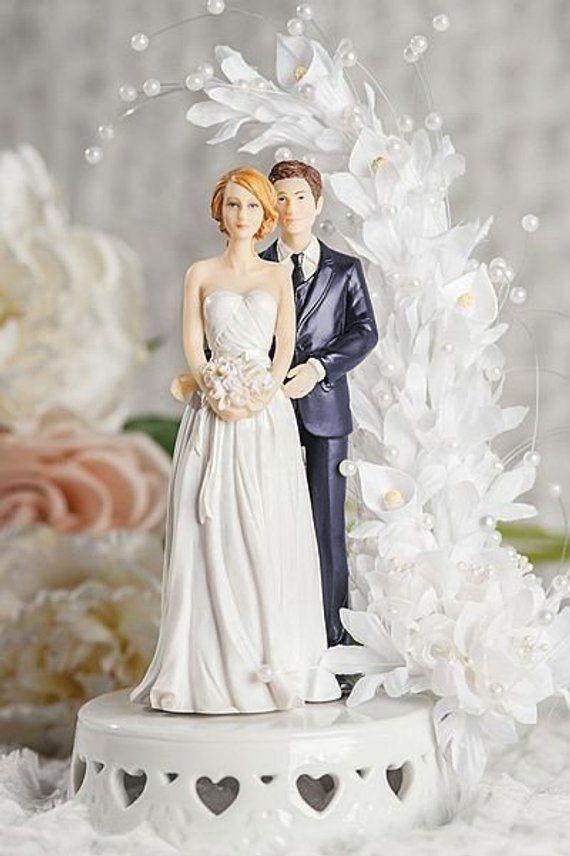 2019 Custom Ideas For Biracial Couple Interracial Bride and Groom Calla Lily Arch Wedding Cake Topper