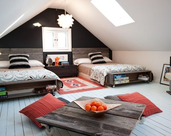 Attic converted to large multiple guests room i would - How to divide a living room into a bedroom ...