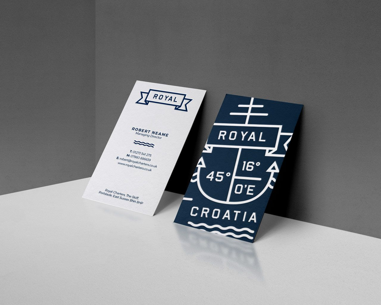 nautical branding letterpress business card design fable c