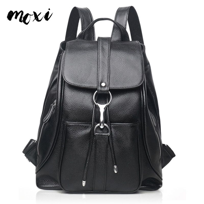 655a91bf74 MOXI Genuine Leather Daypack Women Casual Backpack Natural Cowhide Female  Backpack Leisure School Bag Girl Student Shoulder Bag Review