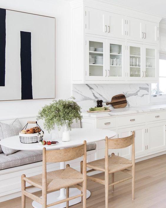 White Kitchen Breakfast Nook Black Chairs Home Kitchen Layout Home Kitchens