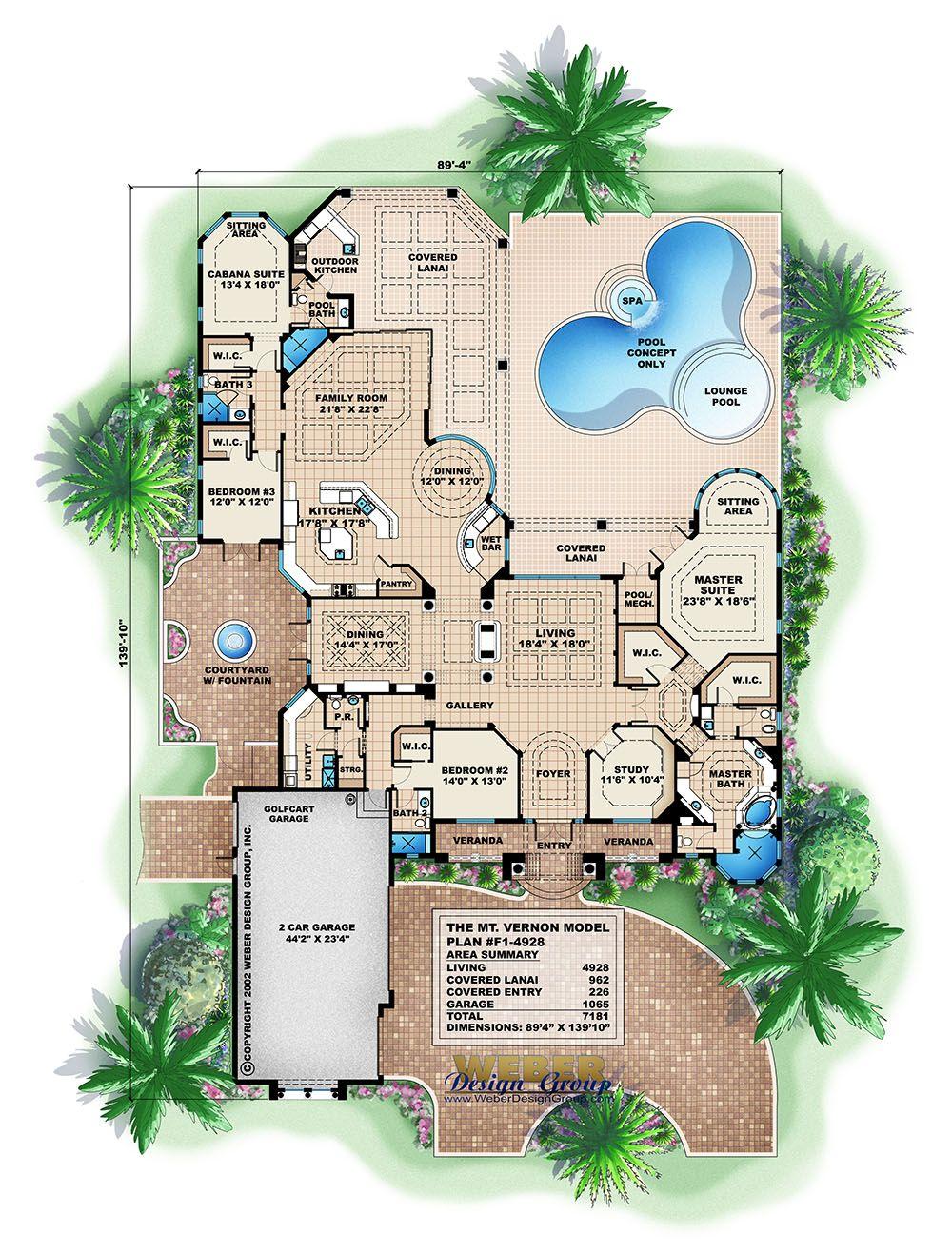 Mediterranean House Plan Waterfront Golf Course Home Floor Plan Mediterranean Floor Plans Florida House Plans Mediterranean House Plans