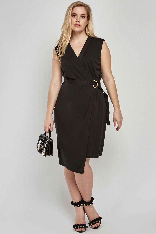 kleid gr.50+52+56 schwarz wickelkleid damen abendkleid