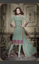 Sea Green Color Elegant Straight Suit With Gorgeous Embroidery Work