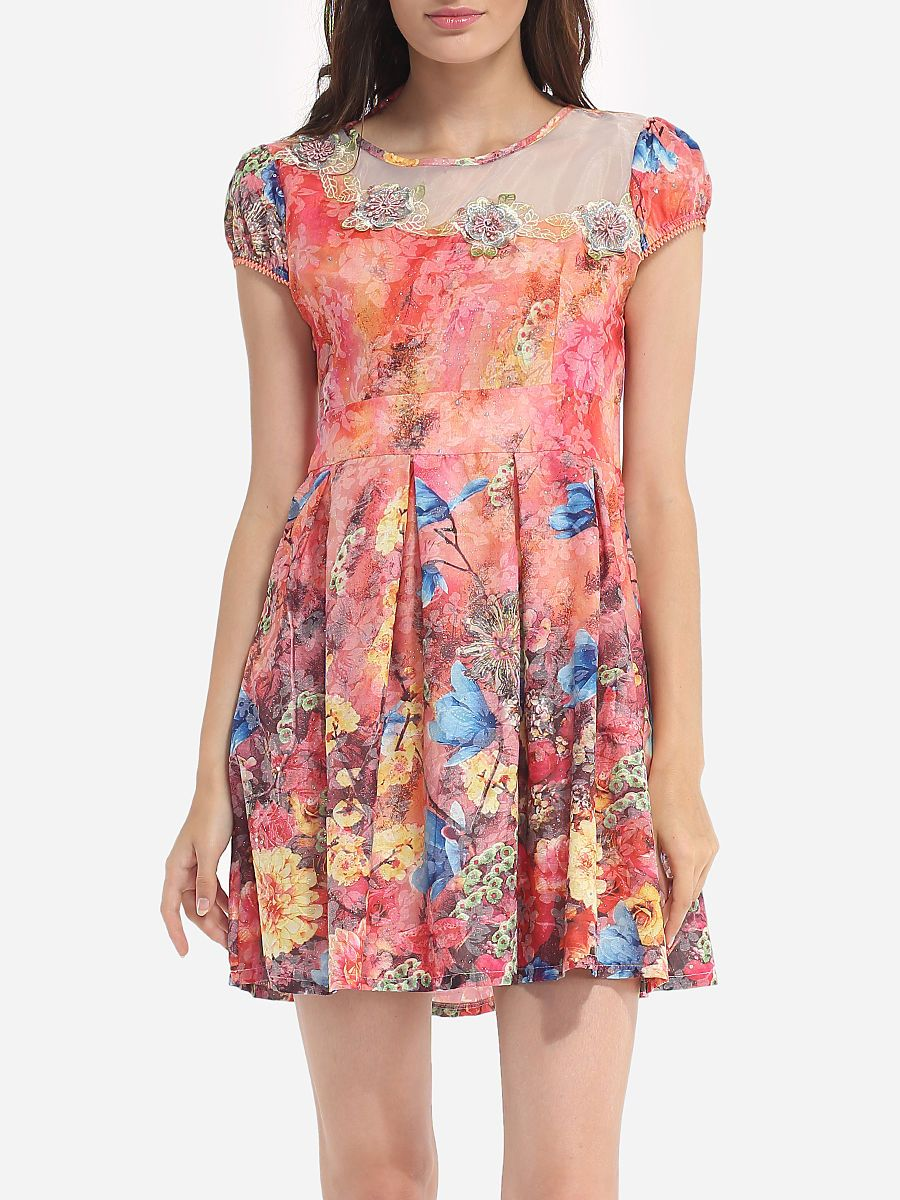 Assorted Colors Floral Mesh Patchwork Printed Dramatic Round Neck Skater-dress
