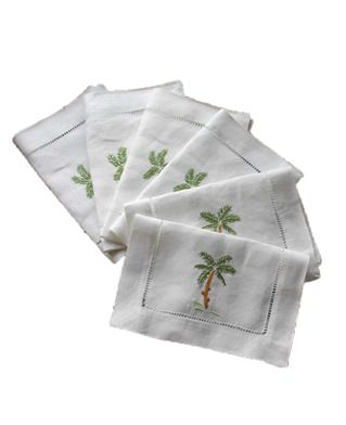 "Set of six ""Palm Tree"" hand-embroidered linen cocktail napkins"
