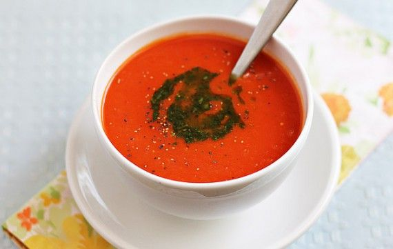 Tomato And Red Pepper Soup With Basil Infused Olive Oil Red Pepper Soup Stuffed Pepper Soup Roasted Red Pepper Soup