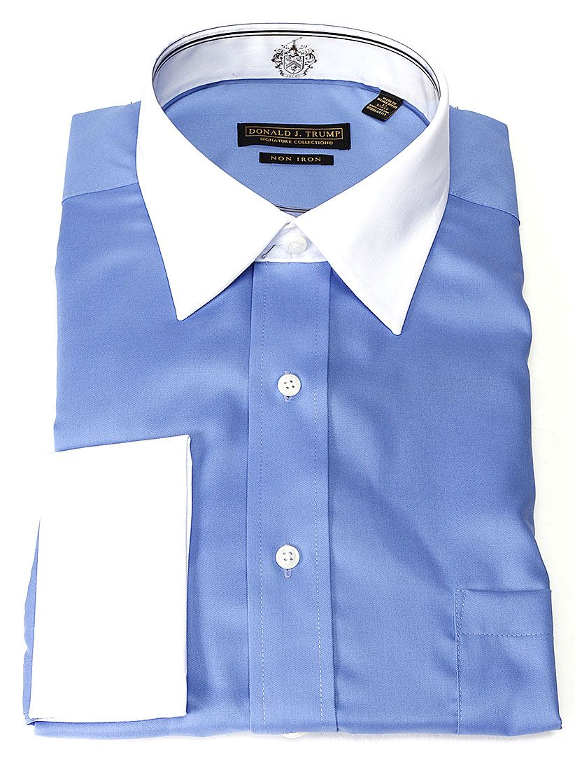 Donald Trump Signature Collection Men's Blue White Collar Dress ...