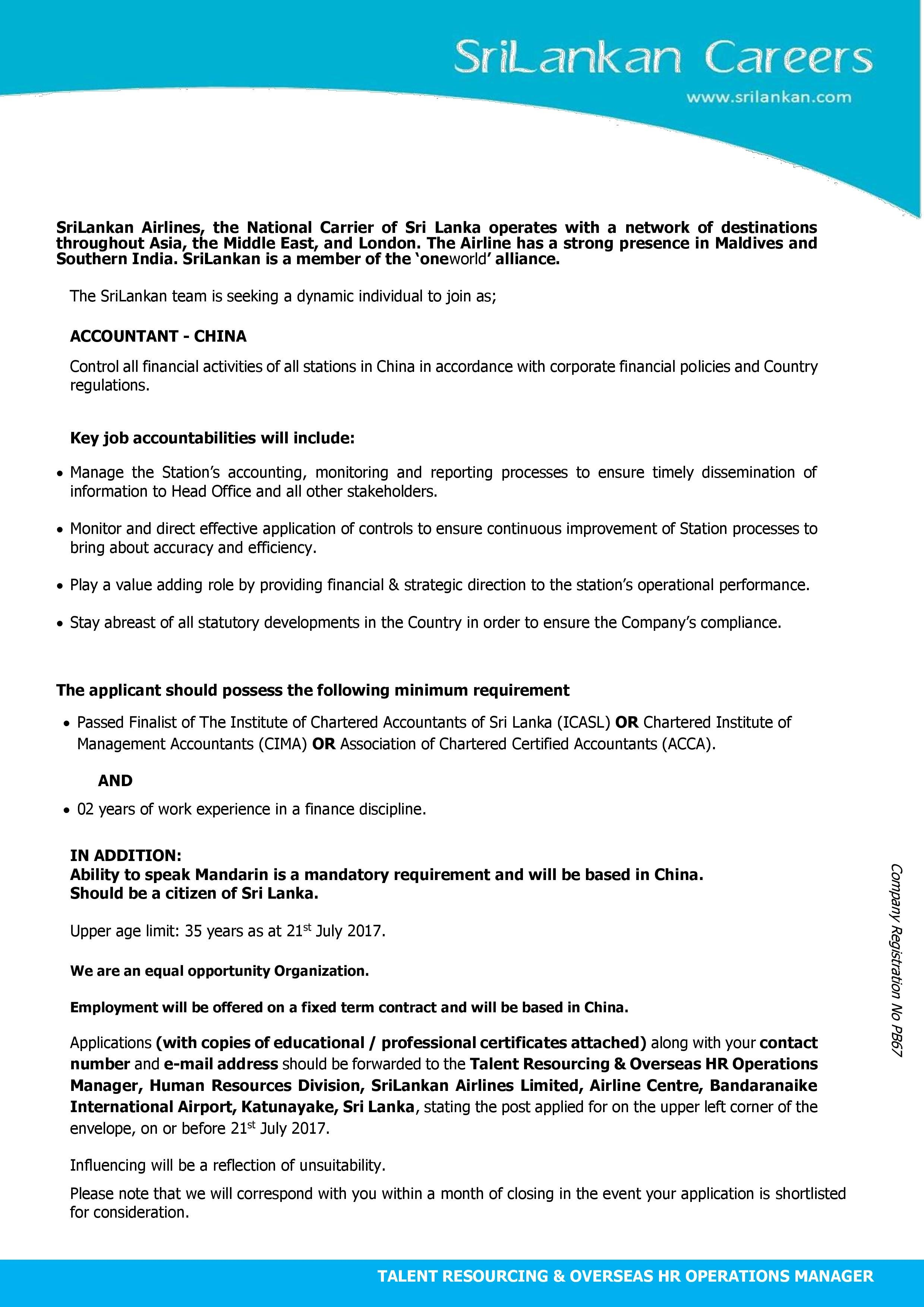 Accountant - China at Sri Lankan Airlines   CareerFirst   Government