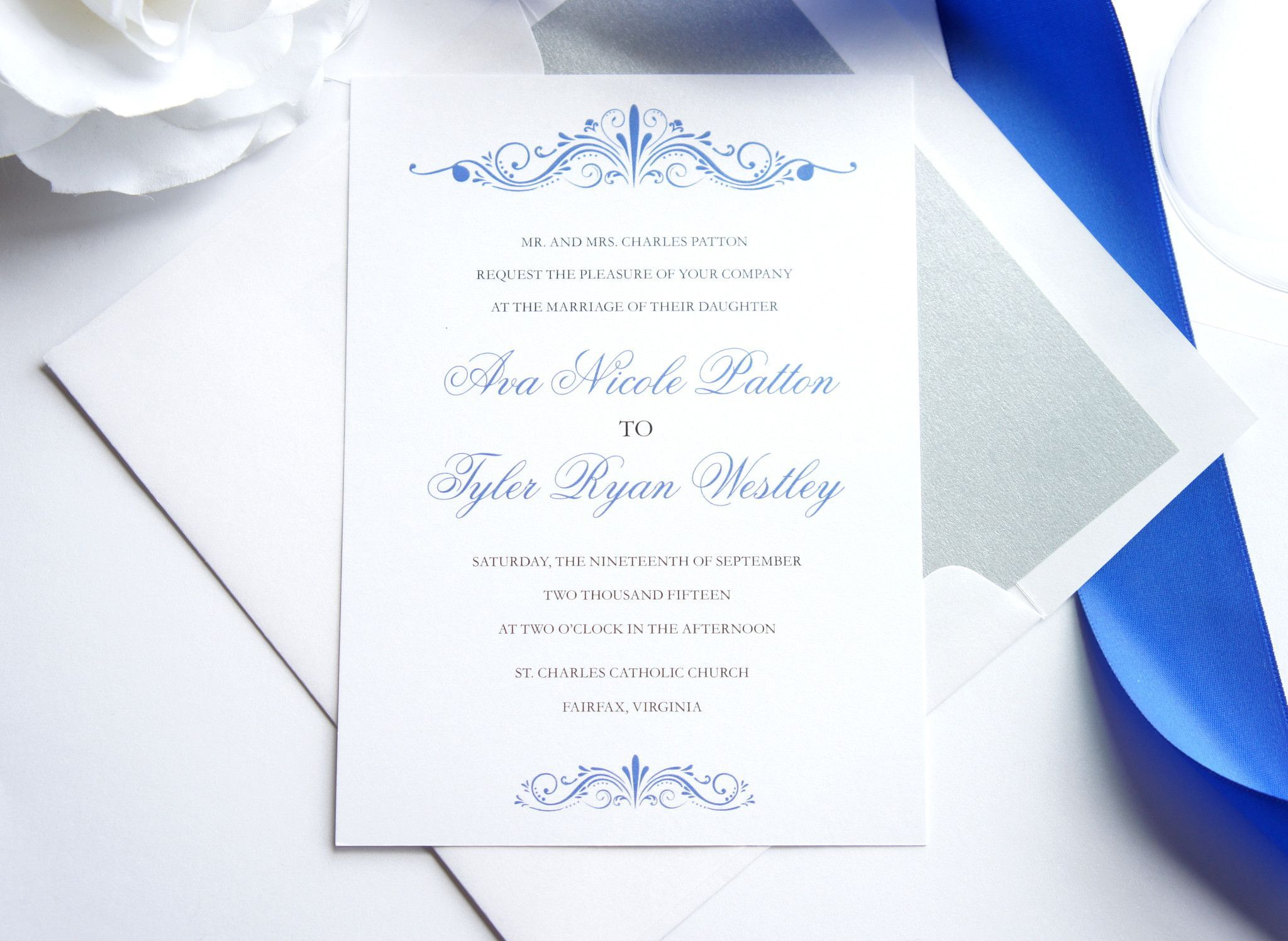 Blue Wedding Invitation Elegant Simple Classic Formal Royal Invites Sle Set: Royal Blue Wedding Invitation Set At Websimilar.org