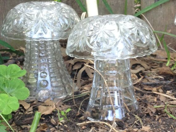 Glass Mushroom Garden Decorations By Anniechapmans On Etsy 5 00 Glass Mushrooms Garden Art Crafts Garden Decor